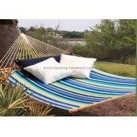 China Collapsible Heavy Duty Quick Dry Hammock Quilted Fabric With Pillow Beach Stripe wholesale