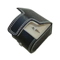 Cheap Black Cardboard Paper Ring Box wrapped in PU leather with stitch frame wholesale