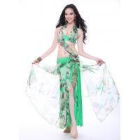 Cheap Green Imitation Silk Belly Dance Performance Costumes In Beautiful Flower Printing wholesale