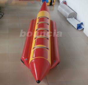 China Red 0.9 mm Thick PVC Tarpaulin Inflatable Banana Boat For Lake / Sea wholesale