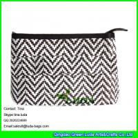 Cheap LUDA black chevron paper straw cool handbags zipper straw clutch handbags wholesale