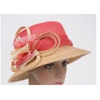 Cheap Two Color Sinamay Crown Ladies Church Hats With 8cm Straw Braid Sewing Brim wholesale