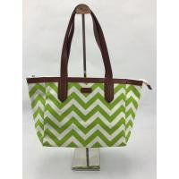 Eco Friendly Reusable Shopping Bags Green Wavy Pattern With Pouch OEM / ODM Available