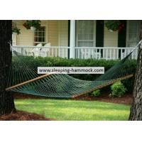 China Forest Green Two Person Cool Polyester Rope Hammock  , Traditional Double Rope Hammock wholesale
