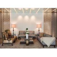 Customized Brown Fabric Hotel Lobby Sofa Set Armchair And Coffee Table