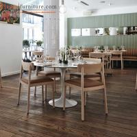 Buy cheap Customized Modern Restaurant Wooden Dining Room Chairs with back / Brown Fabric from wholesalers