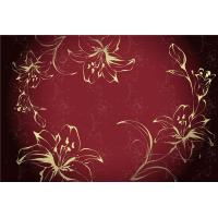 Eco Friendly Bamboo Fiber Modern Decorative Wall Panels Red Flowers Pattern