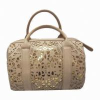 Cheap Perforated Custom Ladies Leather Handbags Business Spacious Tote For Female Company Meeting wholesale