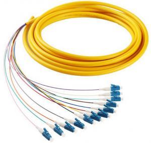 China 12 cores LC/UPC SM 9/125 fiber optic bundle pigtail yellow LSZH  out jacket wholesale