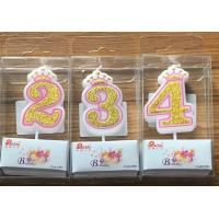 China White Candle  Gold painting and Pink line with Cute Crown Number Birthday Candles 0-9 wholesale