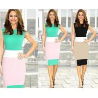 Cheap Color Blocking Dress For Business Career Women Work Mini Bodycon Stretch Zipper Dress Part wholesale