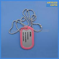 Cheap Blank metal dog tag with covering rubber frame in wholesale price wholesale