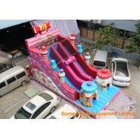 Buy cheap Pink Commercial Inflatable Slide Combo Fun Games With Logo Pringting from wholesalers