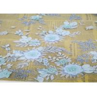 Embroidery 3D Floral Wedding Dress Lace Fabric By The Yard With Beads Light Blue