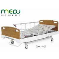 China Critical Care Manual Hospital Bed , Wood Foldable Hospital Bed With Central Brakes wholesale