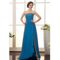 Cheap Blue Evening Gown Chiffon A Line Ruffle Celebrities Evening Dresses With Beaded wholesale