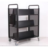 Cheap Heavy duty library W type book cart, mobile metal household book trolley on wheels wholesale