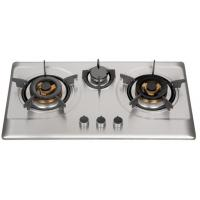 Buy cheap Silver Stainless Steel 3 Burner Gas Hob , Built In 3 Burner Stainless Steel Gas Stove from wholesalers