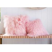 Candy Pink Long Mongolian Sheepskin Decorative Throw Pillow With Single Sided Fur