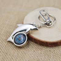 Cheap Chrome camping compass keyring with heavy duty snap hook, metal compass keychain, wholesale