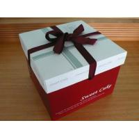 Cheap Red Cake Paper Box Packaging With Silk Ribbon , Custom Designed Boxes wholesale