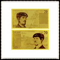 Cheap Gold Plated Items 20 Franc Gold Banknote France Notes Usage To Nice Business Gifts wholesale