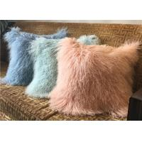 China 18 Inches Long Sheep Fur Decorative Pillows , Mongolian Fur Outdoor Throw Pillows  wholesale