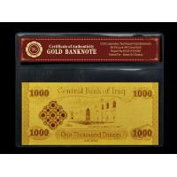 Cheap Business Gift Iraq 1000 Dinars 24K Gold Banknote Holder With COA PVC Frame wholesale