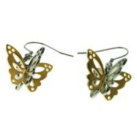 Cheap 2 Tone Butterfly Fish Hook Earrings Gold And Silver wholesale