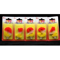 China Contrast Color 100% Handmade Number Candle with Red and Yellow Coloring wholesale