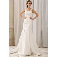 Cheap Modern Mermaid V Neck Romantic Lace Wedding Gowns Beaded Bridal Dress wholesale