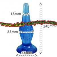 Cheap Blue / Purple Soft TPR Crystal Sex Toy Butt Plug with Sucker for Male / Female Adults wholesale