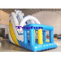 Cheap Jump Bounce Inflatable Kids Slide White Blue Combo With Sprayers Games Fun wholesale