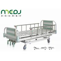 China Green Manual Hospital Bed Height Adjustable Three Cranks Steel Frame MJSD05-10 wholesale