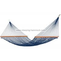 Quality Swing All Weather Garden Rope Hammock For Two Hardwood Bar Included Dark Blue for sale