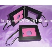 Cheap black card paper cosmetic bag with ribbon handle, Size: 142(L)*122(W)*32(H)mm wholesale