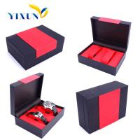 Cheap red & black color pu cover watch box for gift promotion wholesale