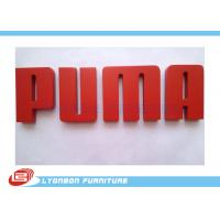 Red Character Engraved Logo Wood Display Accessory MDF , Paint Finished