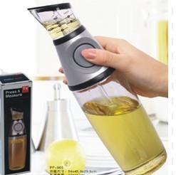 Glass Vinegar Press And Measure Oil Dispenser 500ml With Silicone Button