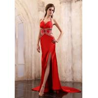 Cheap Red Evening Gown Satin Long Evening Party Dresses A Line Ruffle Evening Prom Dresses With Beaded wholesale