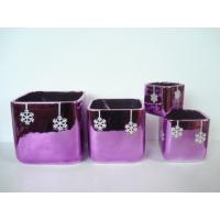 China Purple Electroplate Ceramic Indoor Plant Pots , Square Ceramic Pots For Plants 10 X 10 X 10 Cm wholesale