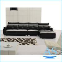 Cheap china foshan office furniture modern black color Leather Sofa L shape sofa SL22 wholesale