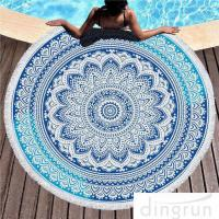 China Multi - Purpose Custom Printed Beach Towels , Round Beach Blanket With Tassels wholesale