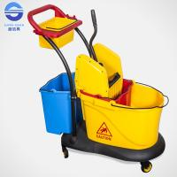 Cheap Small Double Mop Bucket With Wringer , Hospital Down Press Mop Wringer wholesale