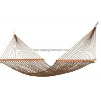 China Soft Spun Deluxe Polyester Rope Hammock , Extra Wide Brown Portable Mesh Hammock wholesale