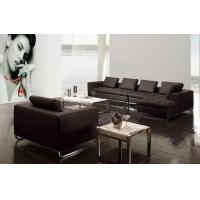 Cheap Modern black color real Leather Sofa metal leather Sofa 705 wholesale
