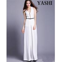 China European High Quality V-Neck Sexy Wide Leg Jumpsuit wholesale