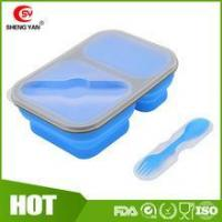 China Can print logo Collapsible 2 compartment silicon lunch box for student wholesale