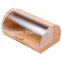 Bread Box made of pure Bamboo with stylish easy glide cover with handle