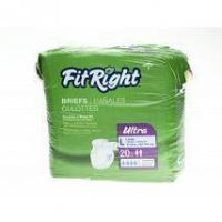 """Incontinence Supplies FitRight Ultra Adult Disposable Briefs Small 20""""-33"""" - 80 Count"""